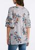 Gray Floral Hacci Top alternate view