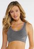 Plus Size Lace Trim Gray Sports Bra alternate view