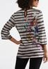 Plus Size Embellished Floral Stripe Top alternate view