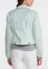 Plus Size Light Green Striped Denim Jacket alternate view