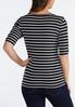 Plus Size Stripe Criss Cross Sleeve Top alternate view