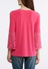Plus Size Pink Lace Bell Sleeve Top alternate view