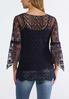 Plus Size Crochet Mesh Sleeve Top alternate view