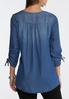 Chambray Ruched Sleeve Top alternate view