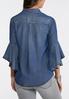 Plus Size Chambray Ruffled Sleeve Shirt alternate view