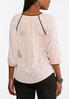 Plus Size Polka Dotted Piped Trim Top alternate view
