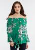 Plus Size Green Sketch Floral Top alternate view