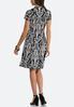 Plus Size Contrast Swirl Puff Print Dress alternate view