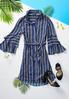 Stripe Bell Sleeve Shirt Dress alternate view