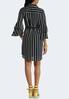Plus Size Stripe Bell Sleeve Shirt Dress alternate view