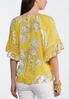 Plus Size Gold Ruffle Sleeve Floral Top alternate view