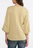 Mustard Striped Lace Sleeve Top alternate view
