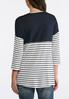 Plus Size Pocket Front Navy Striped Top alternate view
