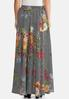 Plus Size Floral Stripe Swing Maxi Skirt alternate view