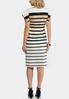 Plus Size Neutral Stripe Midi Dress alternate view