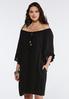 Plus Size Crepe Ruffled Peasant Dress alternate view