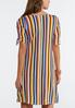 Plus Size Striped Ruched Sleeve Dress alternate view