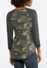Camo Ruched Sleeve Top alternate view