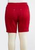 Plus Size Curvy Red Denim Bermuda Shorts alternate view