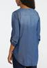 Plus Size Chambray Tie Front Top alternate view