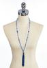 Colored Glass Bead Tassel Necklace alternate view