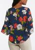 Plus Size Navy Floral Bell Sleeve Top alternate view