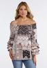 Plus Size Patchwork Ruffled Sleeve Top alternate view