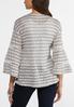 Plus Size Gray Striped Cardigan alternate view