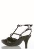 Wide Width Patent Studded T- Strap Pumps alternate view