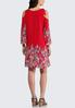 Plus Size Red Paisley Cold Shoulder Dress alternate view