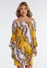 Plus Size Gold Paisley Peasant Dress alternate view