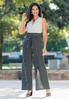 Petite Black And White Slit Pant Jumpsuit alternate view