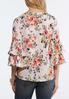 Plus Size Floral Pleated Sleeve Top alternate view
