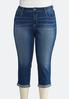 Plus Size Cropped Stitch Pocket Jeans alternate view