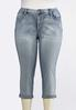 Plus Size Cropped Rhinestone Embellished Jeans alternate view