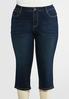Plus Size Cropped Heavy Stitch Jeans alternate view