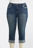 Plus Size Cropped Metallic Embellished Jeans alternate view