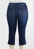 Plus Size Cropped Embroidered Wave Jeans alternate view
