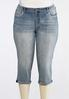 Plus Size Curvy Cropped Geometric Bling Jeans alternate view