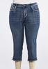 Plus Size Cropped Fleur De Lis Pocket Jeans alternate view