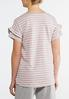 Plus Size Stripe Ruffled Sleeve Tee alternate view