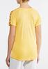 Plus Size Yellow Lattice Sleeve Tee alternate view