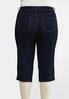 Plus Size Cropped Button Hem Jeans alternate view