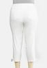 Plus Size Tie Hem Cropped White Jeans alternate view