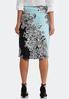 Plus Size Turquoise Paisley Pencil Skirt alternate view