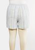 Plus Size Drawstring Stripe Linen Shorts alternate view