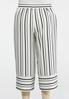 Plus Size Striped Wide Leg Cropped Pants alternate view