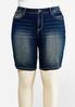 Plus Size Stitched Denim Bermuda Shorts alternate view