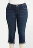 Plus Size Cropped Stitched Jeans alternate view