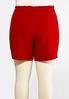 Plus Size Red Tie Waist Shorts alternate view